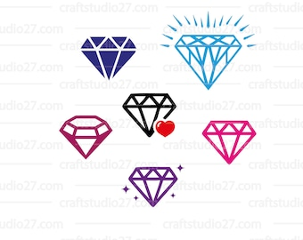 Direct download 7 diamonds SVG files for Silhouette Cameo, Cricut etc Various diamonds in one buy