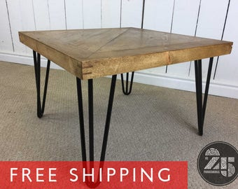 Hand Crafted Vintage Rustic Style Square Coffee Table With Retro Eames Style Hairpin Legs. Solid Wood Bespoke Side Table