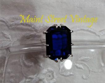 Cobalt Blue Lab 20x15 Spinel Emerald Cut Sterling Cocktail Statement Ring Sz 8