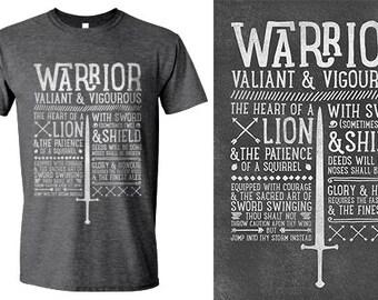 World of Warcraft / WoW inspired T-shirt - WARRIOR Edition - Unisex / Mens / Ladies / - Dark Heather