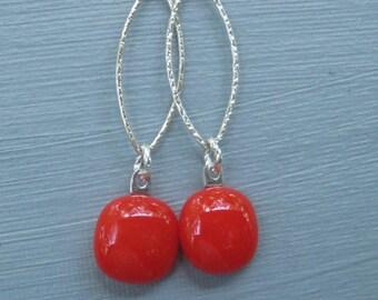 Red Glass Drop Earrings, Fused Glass Earrings, Red Glass Earrings, Sterling Silver and Red