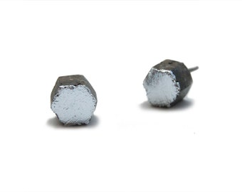 Silver and Concrete Hexagon Earrings - Silver and Gray Cement Jewelry