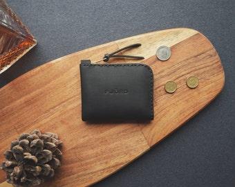 Halfzipwallet graphite / Zipper wallet / Small leather wallet / Minimalist wallet