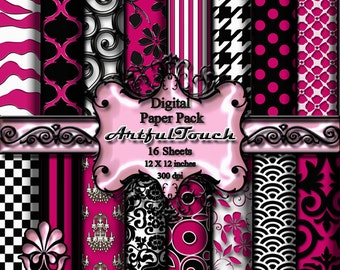 Hot Pink Digital Paper Pink Digital Scrapbook Paper Pack, Hot Pink Damask Digital Background Pink digital Printable Paper  INSTANT DOWNLOAD