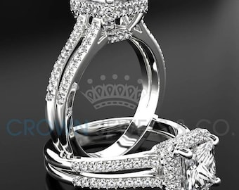 Princess Cut Engagement Ring 1.80 Carat F VS Diamond Women's White Gold Setting With Side Accent Diamonds