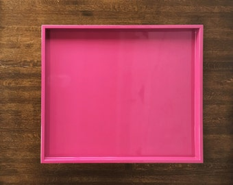 Pink Low Profile Tray, Pink Decorative Tray, Pink Serving Tray,