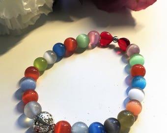 Gemstone bracelet, Multi Color Cat's Eye, Valentines Day, Red Heart Crystal, Beaded Bracelet,Gemstone, Cat's Eye ,