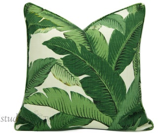 Outdoor Swaying Palm Pillow Cover - 20 inch  - With Self Welt - Tropical - Palm fronds - Leaves - Nature - modern resort - made to order