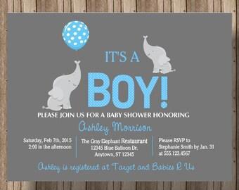 ELEPHANT BABY SHOWER Invitation for Boys / Blue and Gray Baby Shower Invitation with Elephant / Baby Elephant Jungle Zoo Animals / Printable