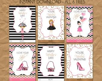 INSTANT DOWNLOAD - Fashionista Diva Stylish Valentine's Day Cards
