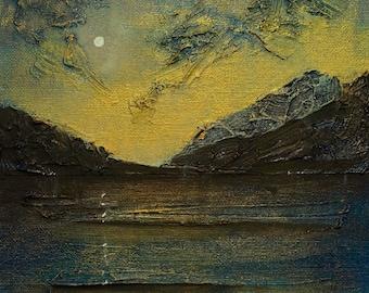 Loch Lomond Moonlight - Original Oil Painting On Canvas