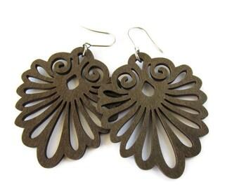 Large Lightweight Decorative Dark Brown Wooden Fan Earrings | Modern Gypsy Boho Jewelry for Women