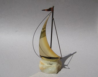 Small Sailboat Sculpture Mid Century Modern Brass Sailboat with Marble Base Artist Signed Metal Sculpture Nautical Decor Lake House Decor