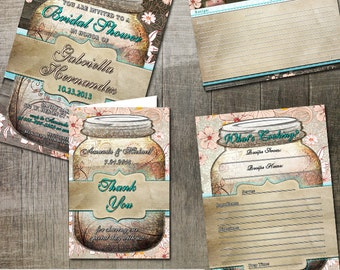 Rustic Mason Jar Bridal Shower Party Printables | Digital Printable Invitation and cards | Rustic Bridal Shower | Mason Jar Invitation