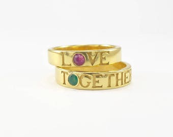 couple ring gold set, Matching wedding bands, alternative wedding rings, His And Her Ring Set,  love gold ring, ruby wedding ring,