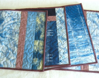 Indigo Hand-dyed Quilted Placemats - set of 4 - Abstract