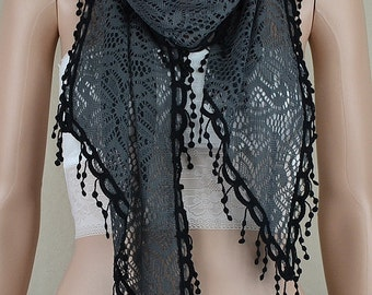 Gray bud silk scarf, three-dimensional hollow out irregular scarf, black lace scarf