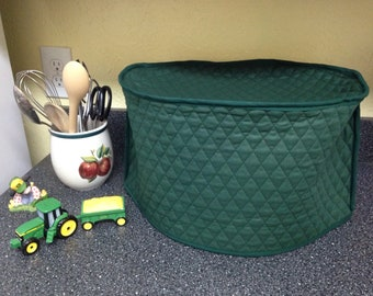 Hunter Green Oval Crock Pot Cover Quilted Fabric Slow Cooker Small Appliance Cover Made To Order