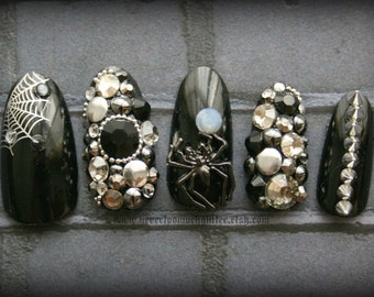 Arachnid Queen | Gothic 3D Nail Art | Deluxe Gothic Fake Nails | Spider Nails | Cosplay | Black Acrylic Nails | Swarovski | Press On Nails