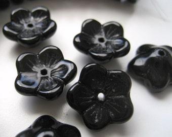 5mm x 12mm Black Czech Glass Flower Beads - Pressed Glass - 12 Pieces