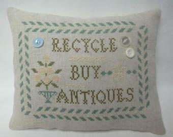 Recycle Buy Antiques Cross Stitch Mini Pillow, Antique Dealer Pillow Gift