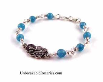 Madonna and Baby Jesus Wire Wrapped Religious Charm Bracelet Blue Marble Stones by Unbreakable Rosaries