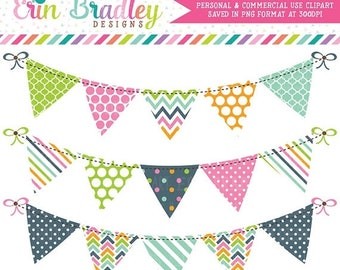 80% OFF SALE Bunting Clipart Graphics Instant Download Digital Clip Art Banner Flags Pink Blue Green Orange Personal and Commercial Use