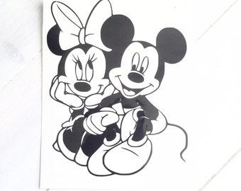 DIY Mickey & Minnie in Love Vinyl Decal, Car Window, Laptop Decal, Stainless Steel Mug, Drinkware Decal, Disney Lovers