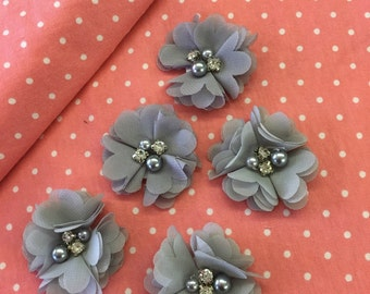 """2.5"""" Silver Grey Gray Chiffon Flower with Pearl and Rhinestone Center set of 5"""