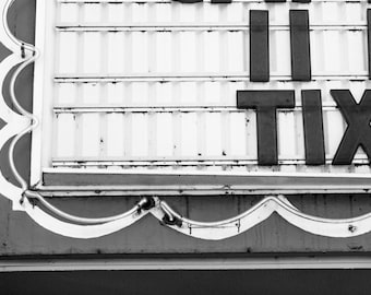 Vintage Theater Sign // The Bagdad Theater, Portland, Oregon // Black and White Fine Art Photography // Giclée Print