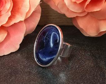 Blue Sodalite Ring, Navy, Swirl, Gemstone, Oval, Statement Ring, Adjustable, Cocktail Ring, Big Ring