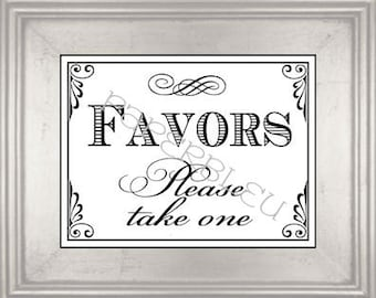 """Wedding & Party """" Favors"""" Sign - DIY Instant Printable Download - 8x10 print"""