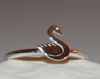 Silver Stacking Swan Ring, Silver Stacking Ring, Silver Swan Ring, Silver Stacking Swan Band, Silver Swan Band, Thumb Ring, Swan Ring