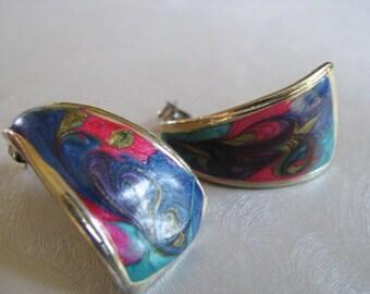 Vintage Earrings - Blue and Pink Earrings - Goldtone Posts