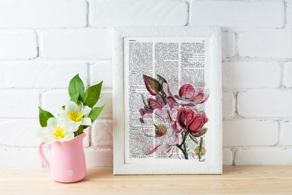 Magnolia Flower Vintage Book Print Dictionary or Encyclopedia Page Print Dictionary Bookart art BFL040b