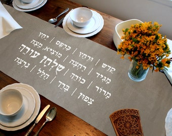 Passover night (Leil Haseder) signs - table Runner, Tablecloth, Judaica Gift, 100% cotton, 1.80x45 cm.