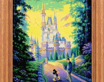 Mickey Mouse castle, cross stitch pattern, cross stitch disney, disney pattern, Mickey pattern, Mickey cross stitch, disney  cross stitch