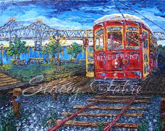 Streetcars' Riverwalk View - matted to fit 11x14 - PRINT
