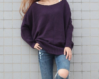OVERSIZED Woman sweater/ Knit sweater kimono sleeve wool pullover wool sweater DEEP PURPLE