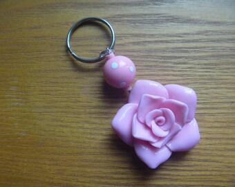 key ring, pink rose keychain, ecofriendly handbag charm