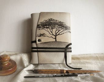 beige leather journal, custom monogram, personalized leather journal with vintage style paper - Mysterious Tree