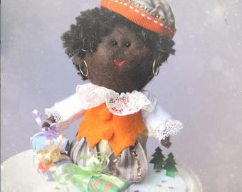 Sinterklaas partner Ornament Felt Sculpture - Christmas felt doll for Cake topper doll softie- Hand Made in France