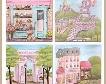 Pink Paris Art Prints, Paris Decor, Eiffel Tower Print, Set of 4-Personalized Baby Shower Gift, Paris Baby Shower, Pink Paris Themed Bedroom