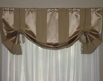 Window Valance, Tie Up Valance, Tan, Loop Fringe, Tassels