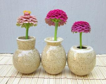 3 tiny vases with rustic glaze