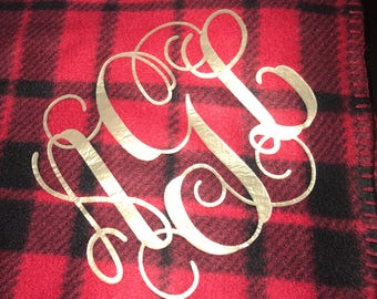 Monogrammed Buffalo Plaid Fleece Throw