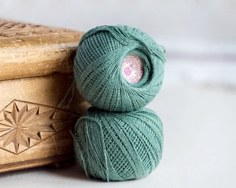 Sage pale green_faded mint green_cotton sewing threads_thread balls_set of two_pure cotton threads_sewing crocheting_Valentines Day Party