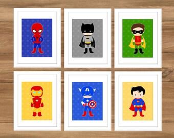 INSTANT DOWNLOAD - Superhero Assortment - 8x10 Print - Superhero Inspired Wall Art - Kids Bedroom Wall Decor - Super Hero - Digital