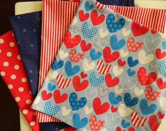 Patriotic Napkins, Mixed Set of 8. Red, White & Blue Napkins. Military Gift. 4th of July, Flag Day, Celebrate America Napkins Gift Set.