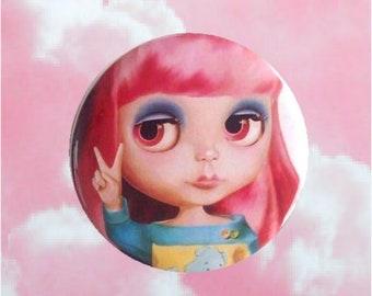 Blythe Doll - Pocket Mirror peace pink hair pastel girl Big Eyes